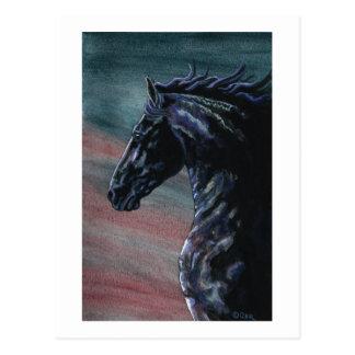 Cartão Postal Arte do cavalo do frisão