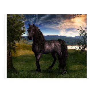 Cartão Postal Arte do costume do cavalo do frisão