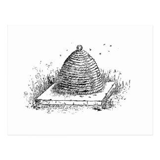 Cartão Postal Arte preto e branco do vintage da colmeia nova do