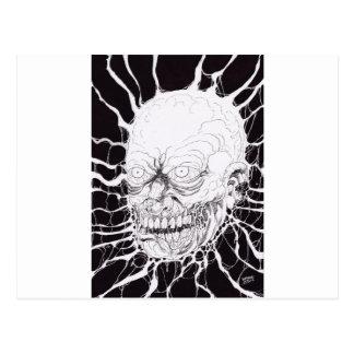 Cartão Postal Arte separada da cabeça do horror do zombi
