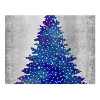 Cartão Postal Árvore de Natal azul e roxa da aguarela