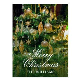 Cartão Postal Árvore de Natal com os ornamento multi-dados forma