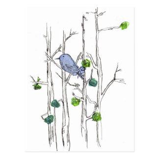 Cartão Postal Árvores caneta do Bluebird e arte da natureza do