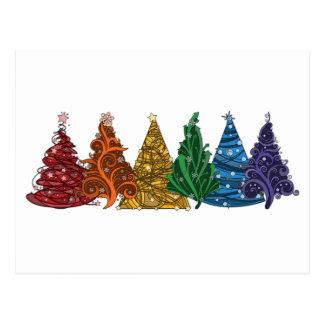 Cartão Postal Árvores de Natal do arco-íris
