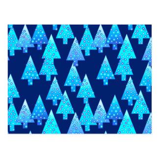Cartão Postal Árvores de Natal modernas da flor - azuis cobaltos
