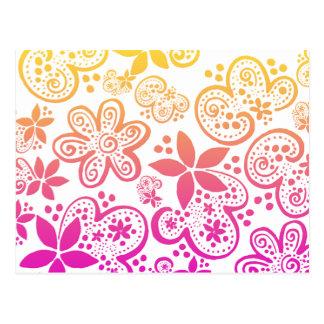 Cartão Postal as flores de Jocelyn no rosa e no amarelo