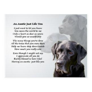 Cartão Postal Auntie Poema Preto Labrador