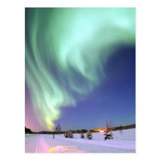 Cartão Postal Aurora - aurora boreal bonita