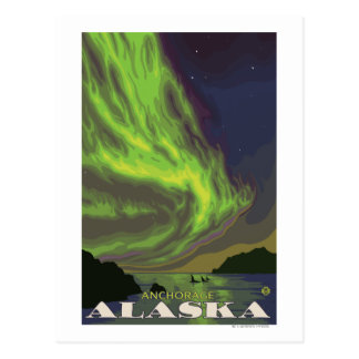 Cartão Postal Aurora boreal e orcas - Anchorage, Alaska