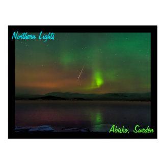 Cartão Postal Aurora boreal e um meteoro de Geminid