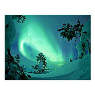 Cartão Postal Aurora boreal no inverno
