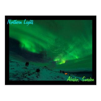 Cartão Postal Aurora boreal sobre a suecia de Abisko
