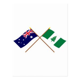 Cartão Postal Austrália e bandeiras cruzadas ilha Norfolk