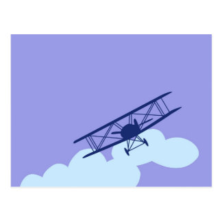 Cartão Postal Avião no fundo azul liso