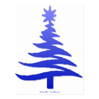 Cartão Postal Azuis cobaltos do estêncil da árvore de Natal