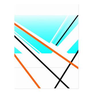Cartão Postal Azul minimalista da paisagem do porto abstrato da