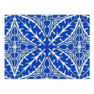 Cartão Postal Azulejos marroquinos - azuis cobaltos e branco