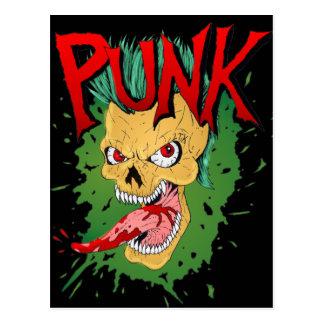 Cartão Postal Balancim de Skulled do Mohawk do punk