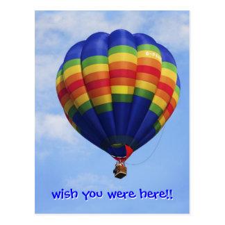 Cartão Postal Ballooning do ar quente do arco-íris
