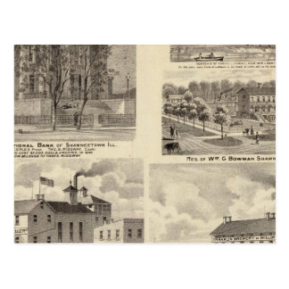 Cartão Postal Bancos, residências e cervejarias em Shawneetown