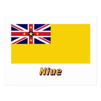 Cartão Postal Bandeira de Niue com nome