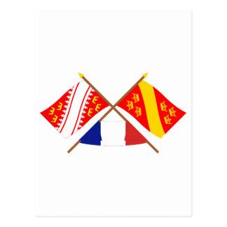 Cartão Postal Bandeiras cruzadas de Alsácia e de Haut-Rhin
