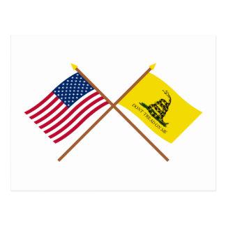 Cartão Postal Bandeiras cruzadas dos E.U. e do Gadsden