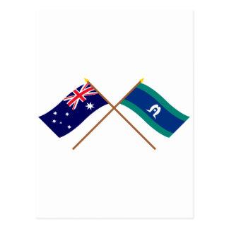 Cartão Postal Bandeiras cruzadas ilhas de Austrália e de passo