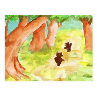 Cartão Postal Bärchen continuam pelo bosque