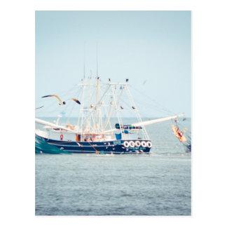 Cartão Postal Barco azul do camarão no oceano