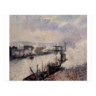 Cartão Postal Barcos a vapor no porto de Rouen por Camilo