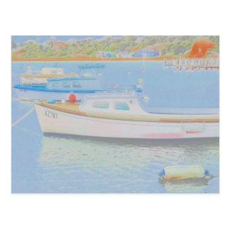 Cartão Postal Barcos da cor de água