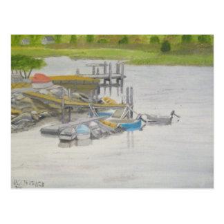 Cartão Postal Barcos de fileira - lagoa de Menemsha