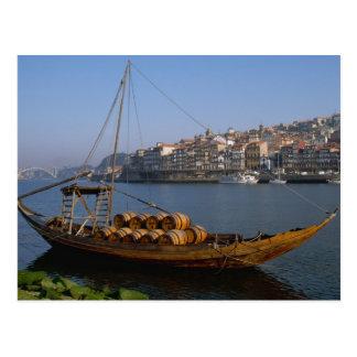 Cartão Postal Barcos de Rabelo, Porto, Portugal