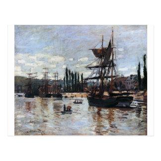 Cartão Postal Barcos em Rouen por Claude Monet