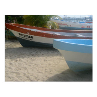 Cartão Postal Barcos na praia