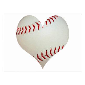 Cartão Postal Basebol americano em uma forma do coração