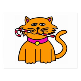 Cartão Postal Bastão de doces do gatinho