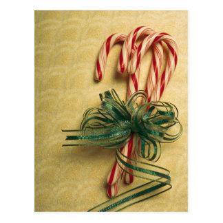 Cartão Postal Bastões de doces amarrados com fita