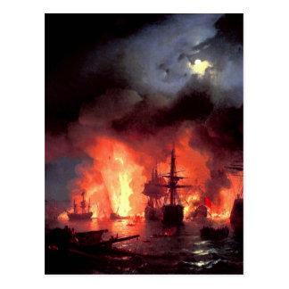 Cartão Postal Batalha de Cesme na noite por Ivan Aivazovsky