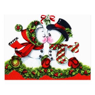 Cartão Postal Beijando o casal do boneco de neve