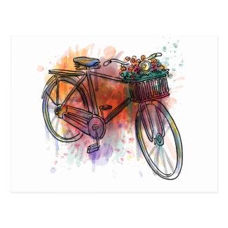 Cartão Postal Bicicleta artística do vintage