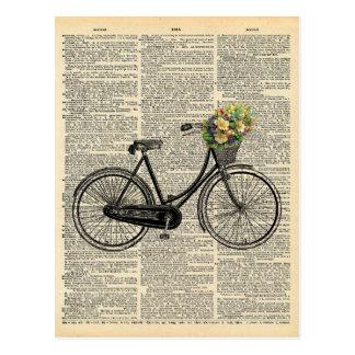 Cartão Postal Bicicleta da arte do dicionário do vintage com