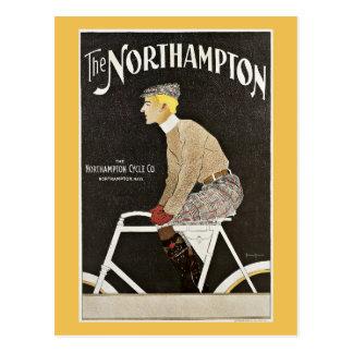 Cartão Postal Bicicleta do vintage da equitação do homem