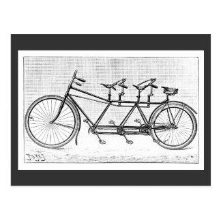 Cartão Postal Bicicleta do vintage para três bicicletas do