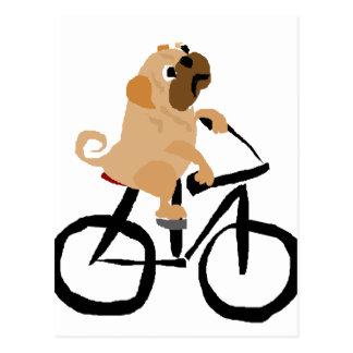 Cartão Postal Bicicleta engraçada da equitação do cão de filhote