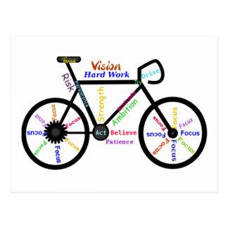 Cartão Postal Bicicleta inspirador, ciclo, Biking, palavras do