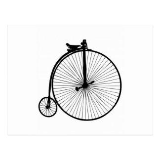 Cartão Postal Bicicleta preta do vintage do farthing da moeda de
