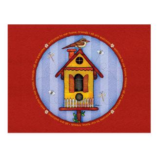 Cartão Postal Birdhouse com pássaro