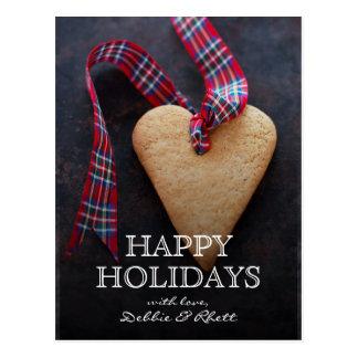 Cartão Postal biscoito Coração-dado forma com fita
